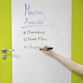 Meeting room door covered in smart self adhesive whiteboard film