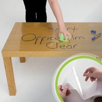 Self adhesive whiteboard clear film applied to desk