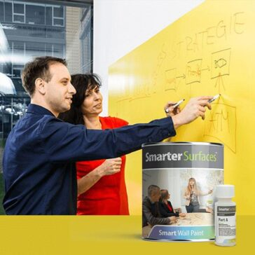 Smarter Surfaces clear whiteboard paint used in office