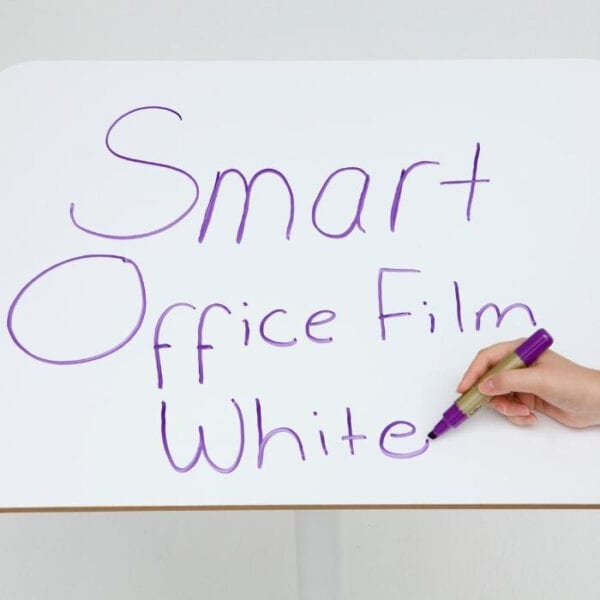 Smarter Surfaces smart self adhesive whiteboard film applied to desk