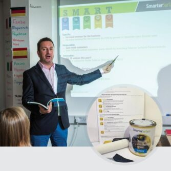 Smart Projector Paint in use with kit on display