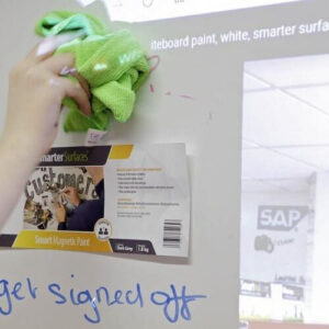 Erasing marker off smart magnetic whiteboard wallpaper low sheen using microfiber cloth