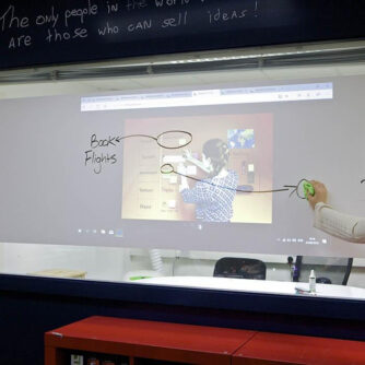 Smart 2 in 1 surface film projector and dry erase whiteboard film