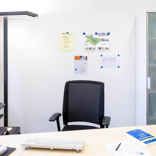 Smart magnetic wall in white office