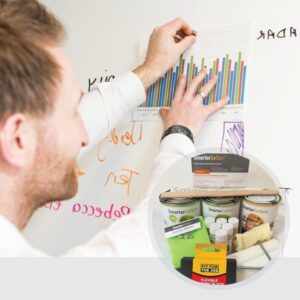 Smart magnetic whiteboard paint white in use with kit on display