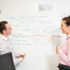 Standing meeting using smart magnetic whiteboard paint white